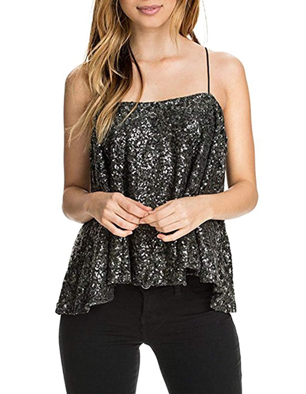 Hodoyi Women Glitter Sequin Cami Crop Tops Vest Club Wear(XXL,Black)