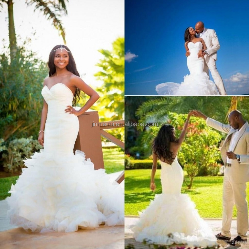 Mermaid Wedding Dresses Low Back Sexy Beach African Sweetheart Organza Tiered Skirts Ruffles Chapel Train Backless Bridal Gowns Buy Mermaid Wedding