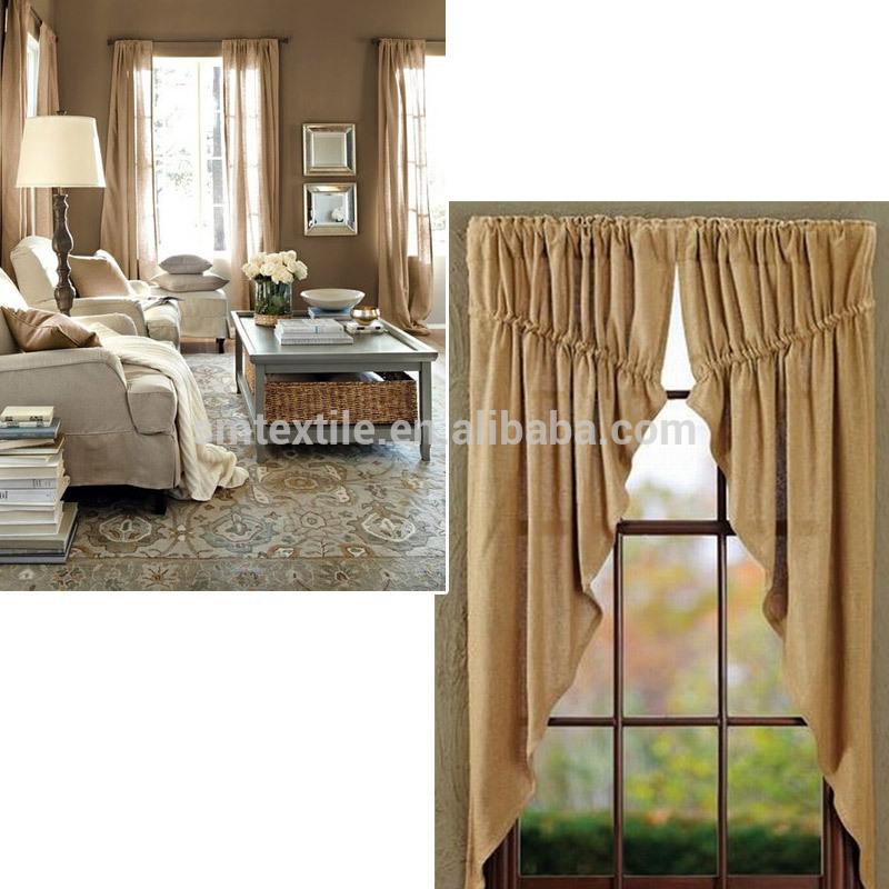 Buena calidad elegante arpillera yute sal n cortinas buy - Cortinas de arpillera ...