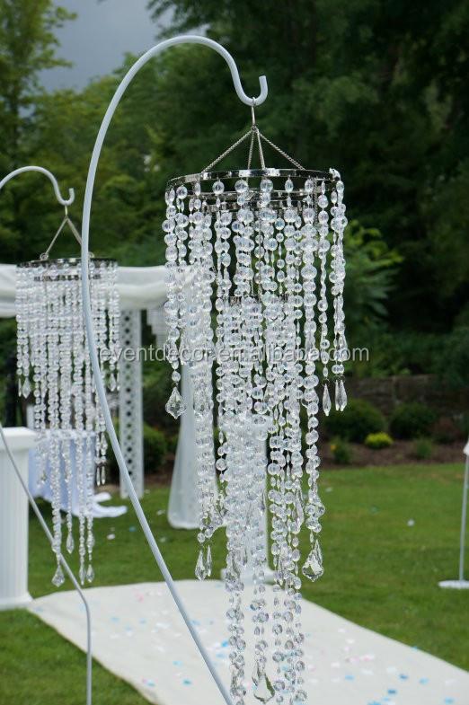 Crystal chandeliers wedding decor : Hanging crystal chandelier wedding ceremony decorations