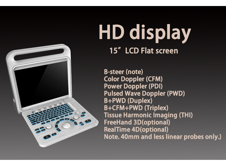 High Resolution Ultrasonic Diagnostic System Portable 3D/4D Color Doppler Ultrasound Scanner Machine