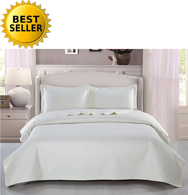 Luxury Hotel Venetian Embroidered Elegant Cream Beige Quilted Bedspread Throw