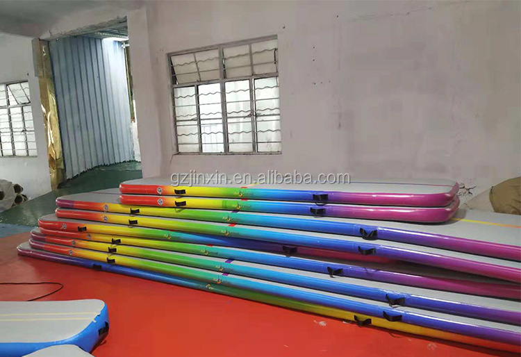 Rainbow 4m 5m 6m 8m 10m 12m Inflatable Yoga Mats Factory Wholesale Airtrack Floor Tumbling Gymnastics Air Track Mat