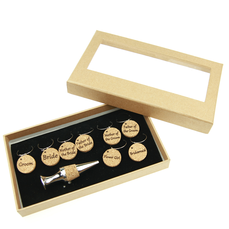 Natural Cork Wedding Themed 8pcs Wine Glass Charms With Wine Bottle Stopper