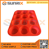 Heat Resistant 12 Cavity Silicone Baking Pan For Muffin Cake Egg Tart Mold
