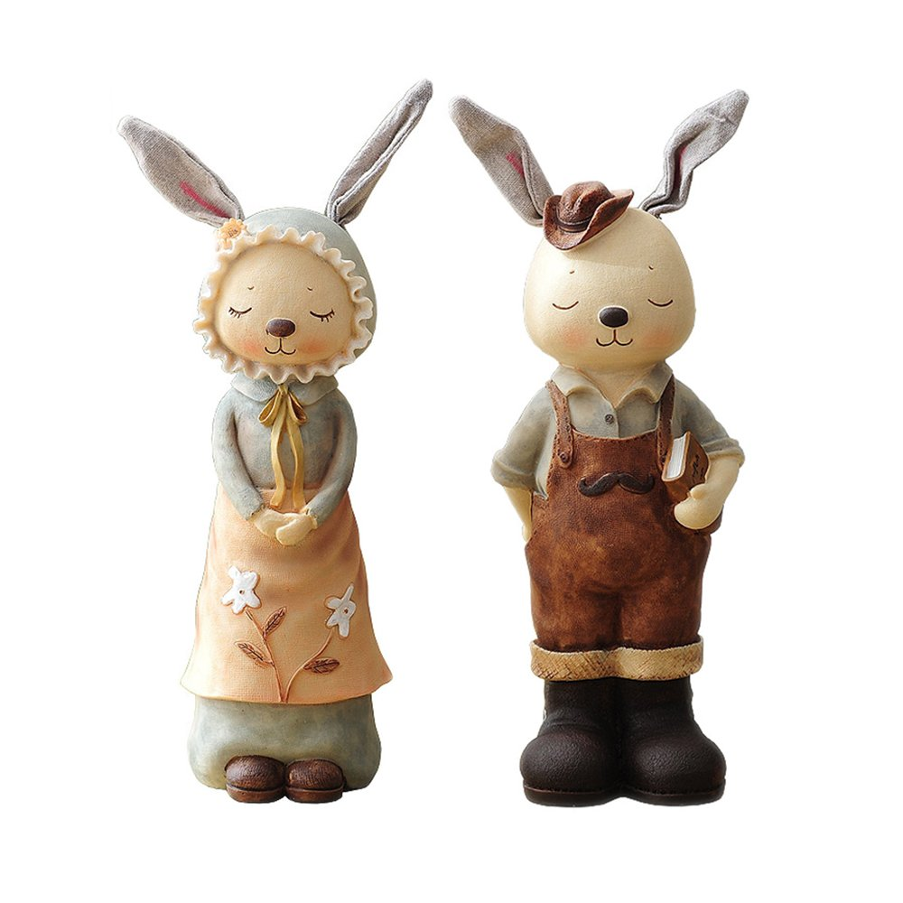 TOOZI Easter Decor Hand Painted Resin Bunnies Boy and Girl Figurines Penny Bank 12 Inch Set of 2