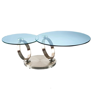 Glass Swivel Coffee Table.Modern Design Expandable Swivel 12mm Tempered Glass Furniture Mesa De Cafe Rotating Round Double Round Metal Small Coffee Table