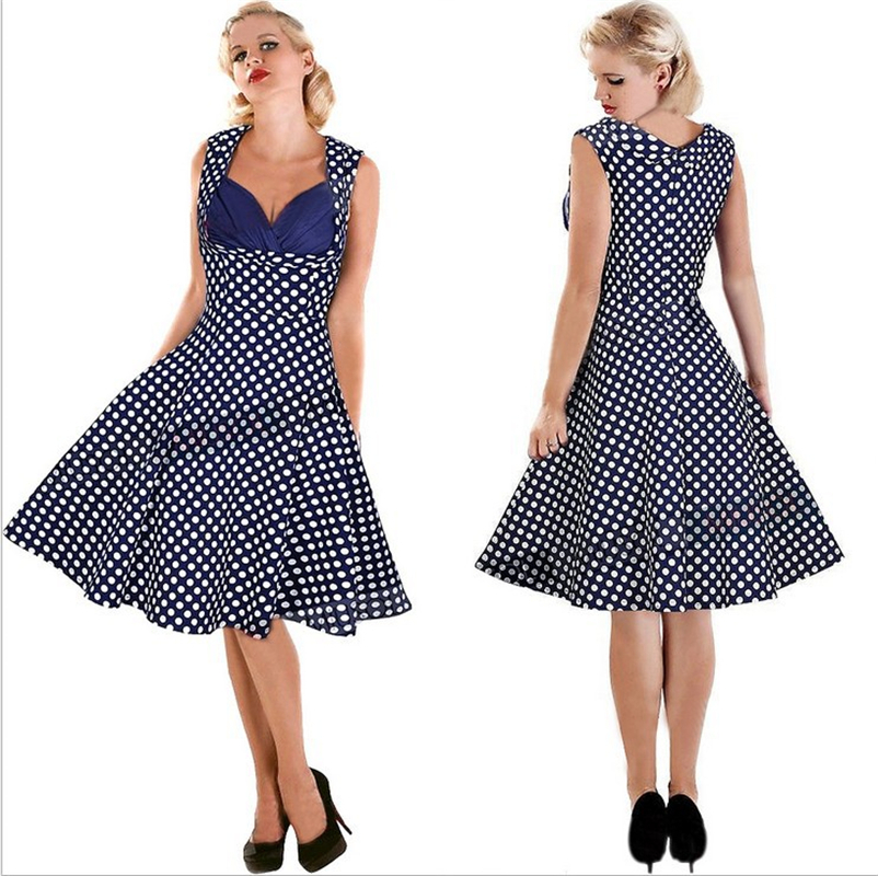 bc2be02a530 Get Quotations · 2015 Women Summer Causal 50s Vintage Dresses Blue Polka  Dots Pinup Retro Cotton Rockabilly Swing Ball