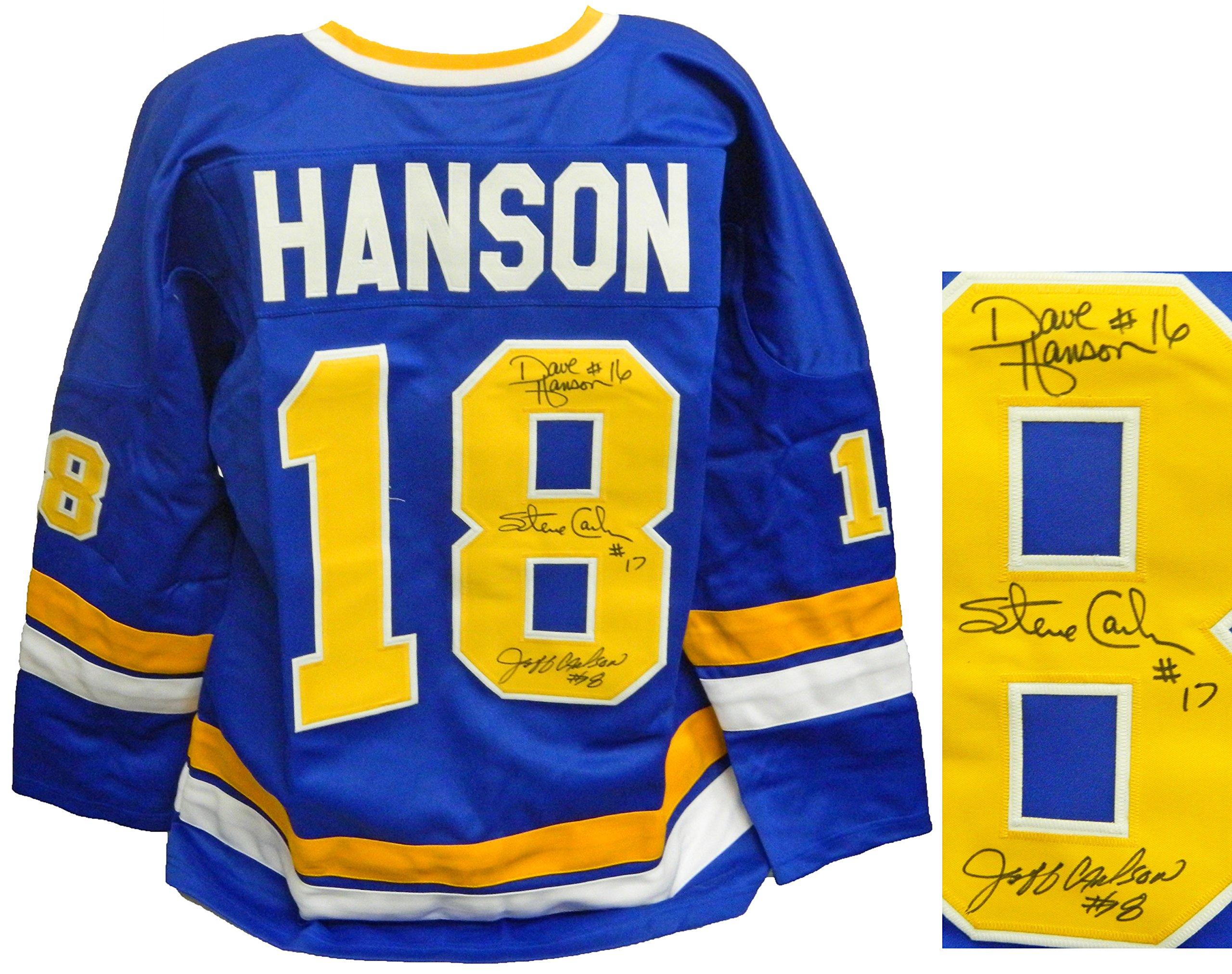 Get Quotations · Hanson Brothers Signed Chiefs Blue Custom  Slap Shot   Jersey 9fe0ca2c7
