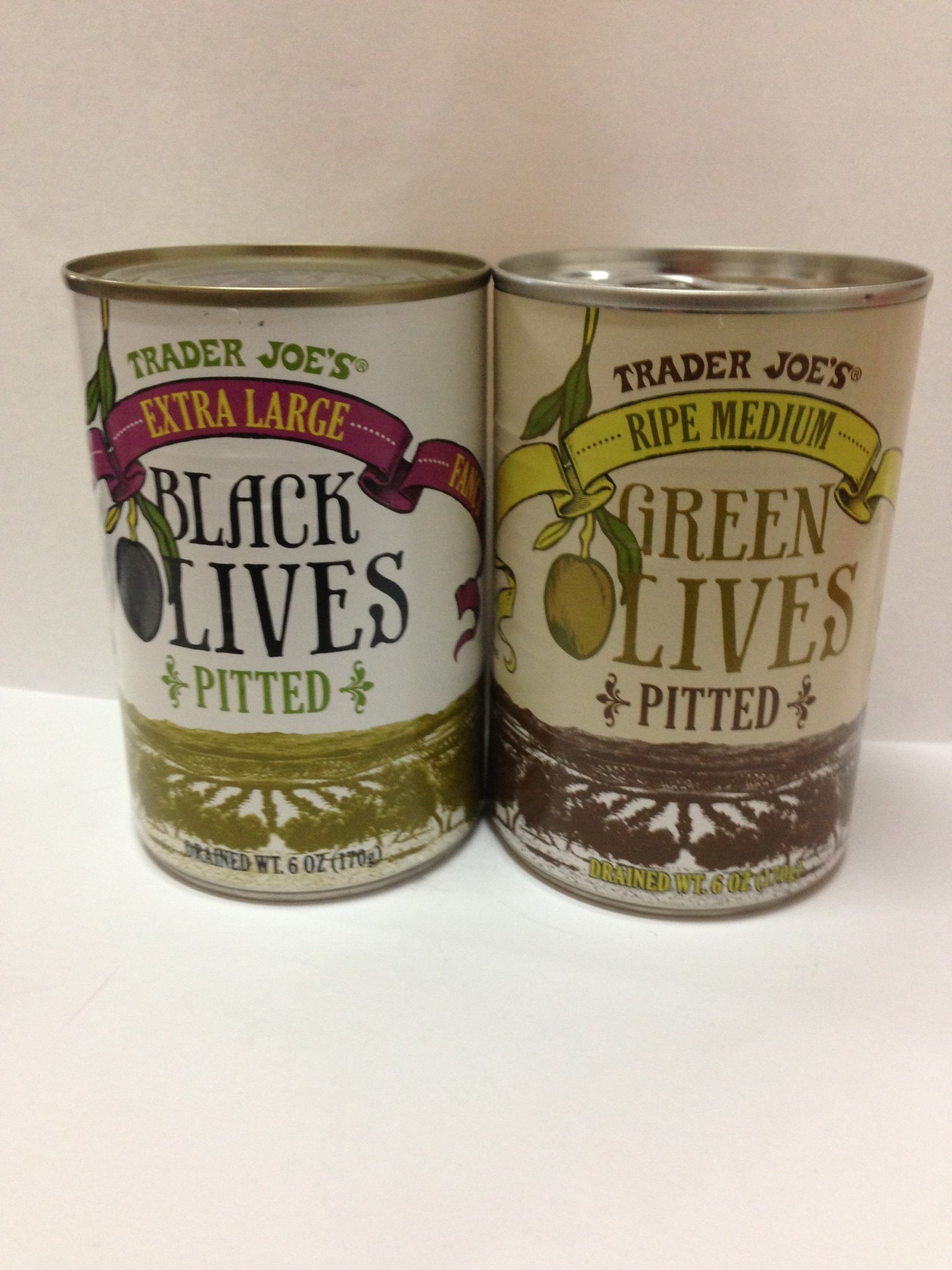 Trader Joe's Ripe Extra Large Fancy Black Olives Pitted and Trader Joe's Ripe Medium Green Olives Pitted