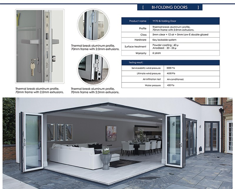 Attraktiv Hohe Qualität Außen Glas Falttüren Platzsparend Für Häuser/Bifold Türen