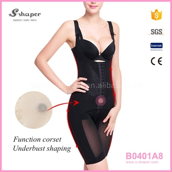 s-shaper underwear with butt plug open-bust full bodysuit b0401a8