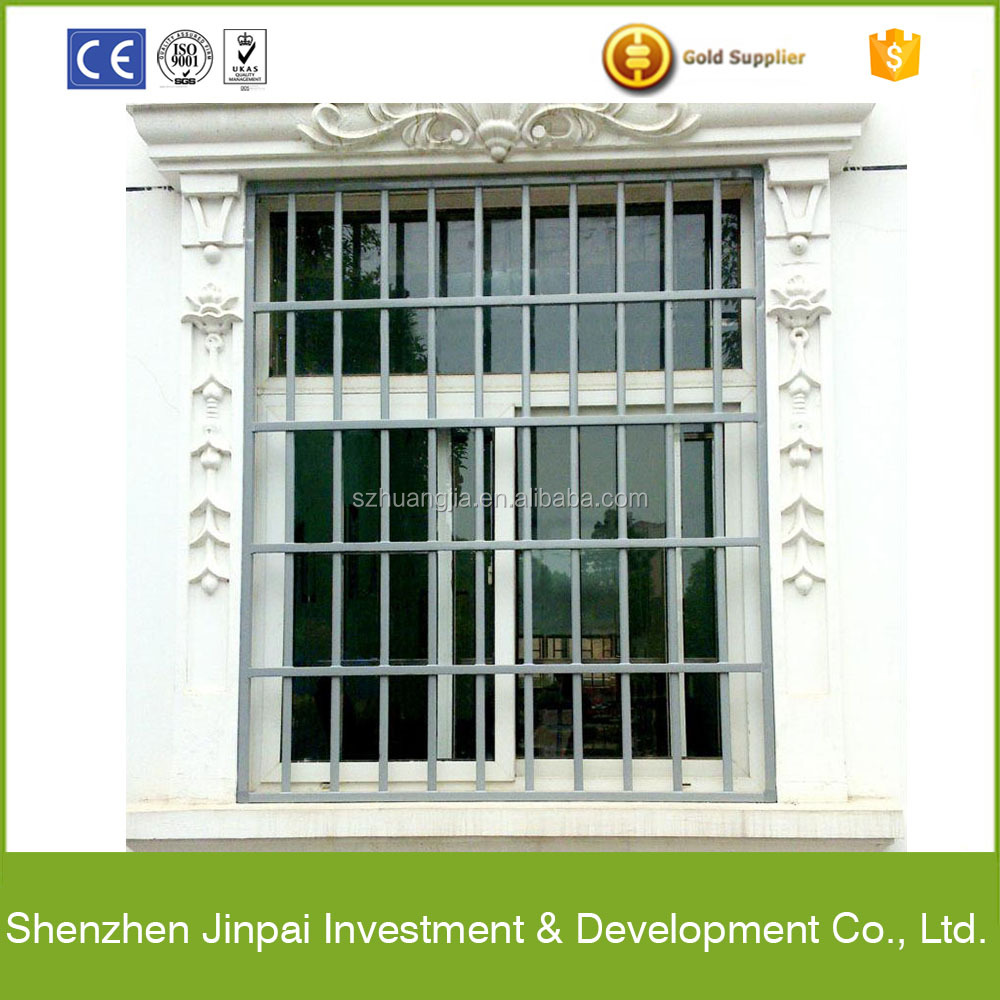 strong security window grill design with tempered glass for home