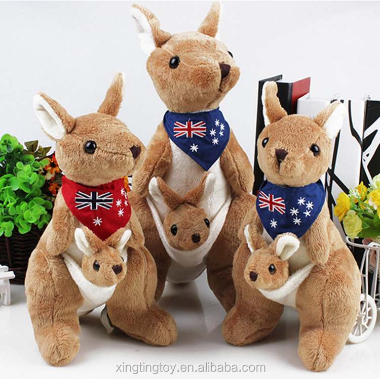 Wholesales Lovely brown 35CM Australia Kangaroo with Baby plush toy