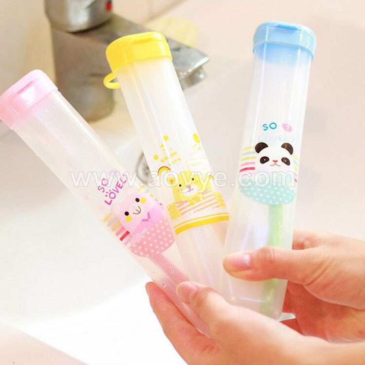 Wholesale suspension travel portable promotional travel plastic cartoon animal toothbrush case/toothbrush box