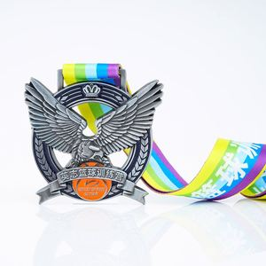 Factory Custom Eagle Shape Basketball Sports Souvenir Label Pin Trophy Medal