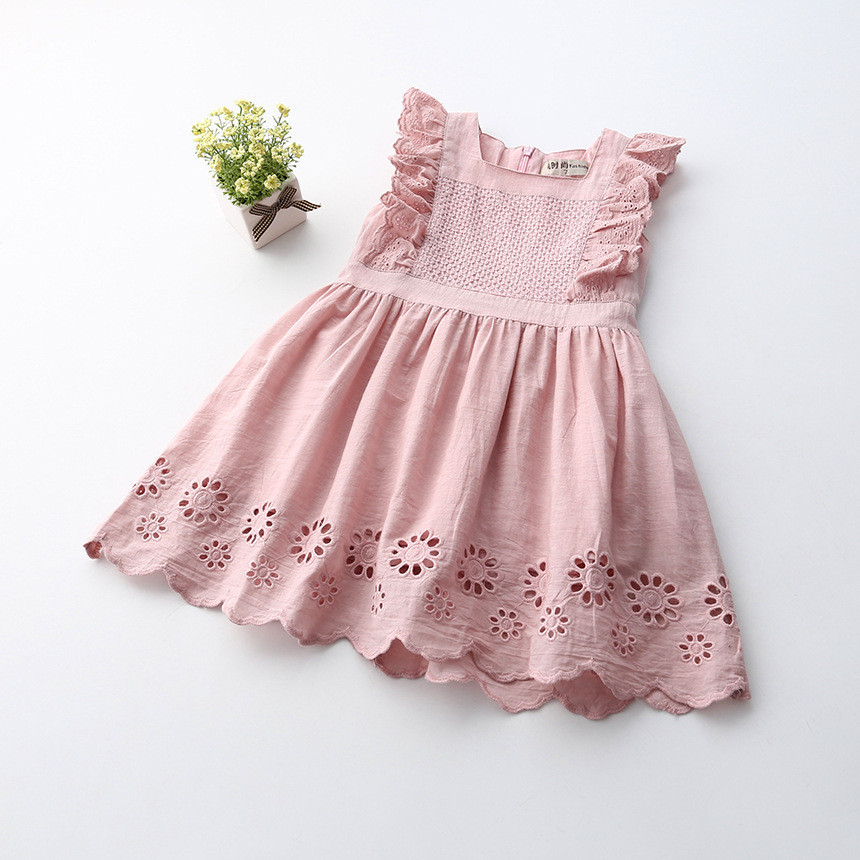 2019 summer pink flower princess toddler girl party dresses comfortable baby girls dresses