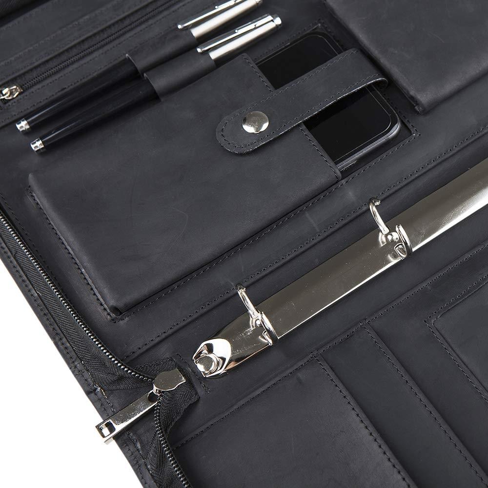 Black Business Customized Portfolio PU Leather Ring Binder File A4