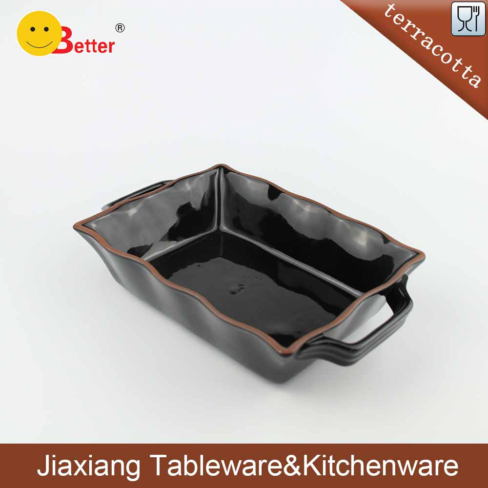 Black Terracotta Ceramic Rectangle Bakeware with handle