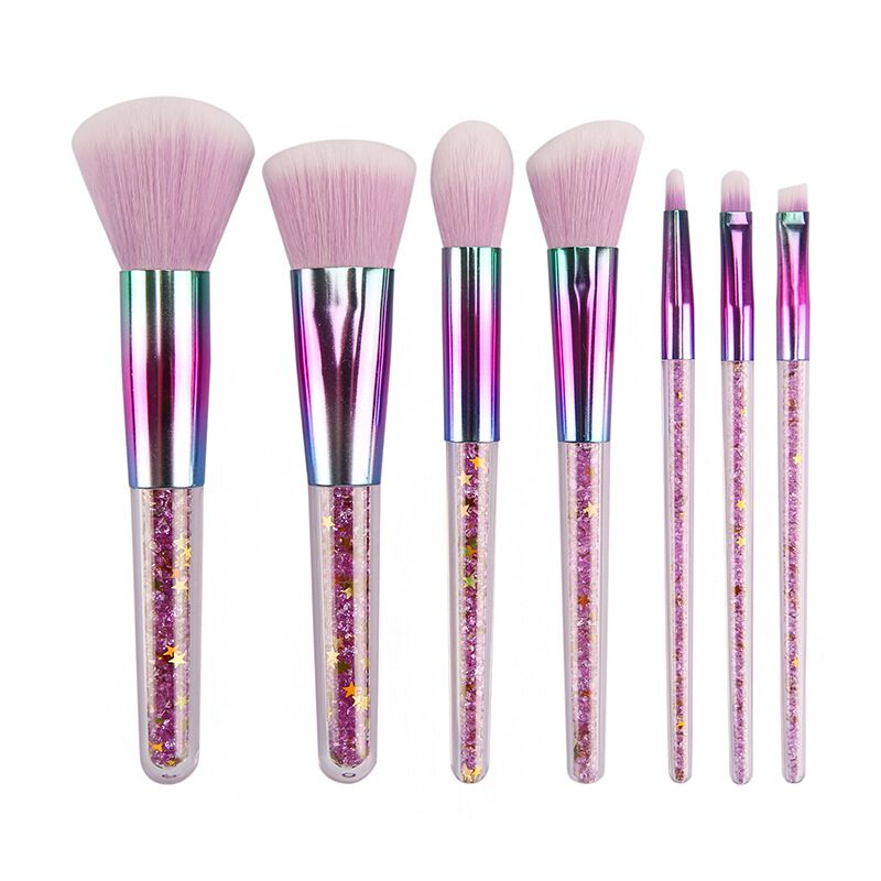2019 Hot Selling 7pcs 7 pcs Pieces Crystal Makeup Brushes Transparent Diamond Crystal Handle Makeup Brush Set