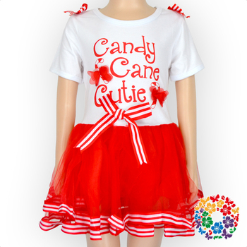 Cute Candy Cane Print Baby Girls Dresses Spring Short Sleeve Dress Bewborn Kids Vintage Dress