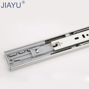 45mm Zinc plated dotted 3-Fold soft closing ball bearing desk drawer runner with plastic damper