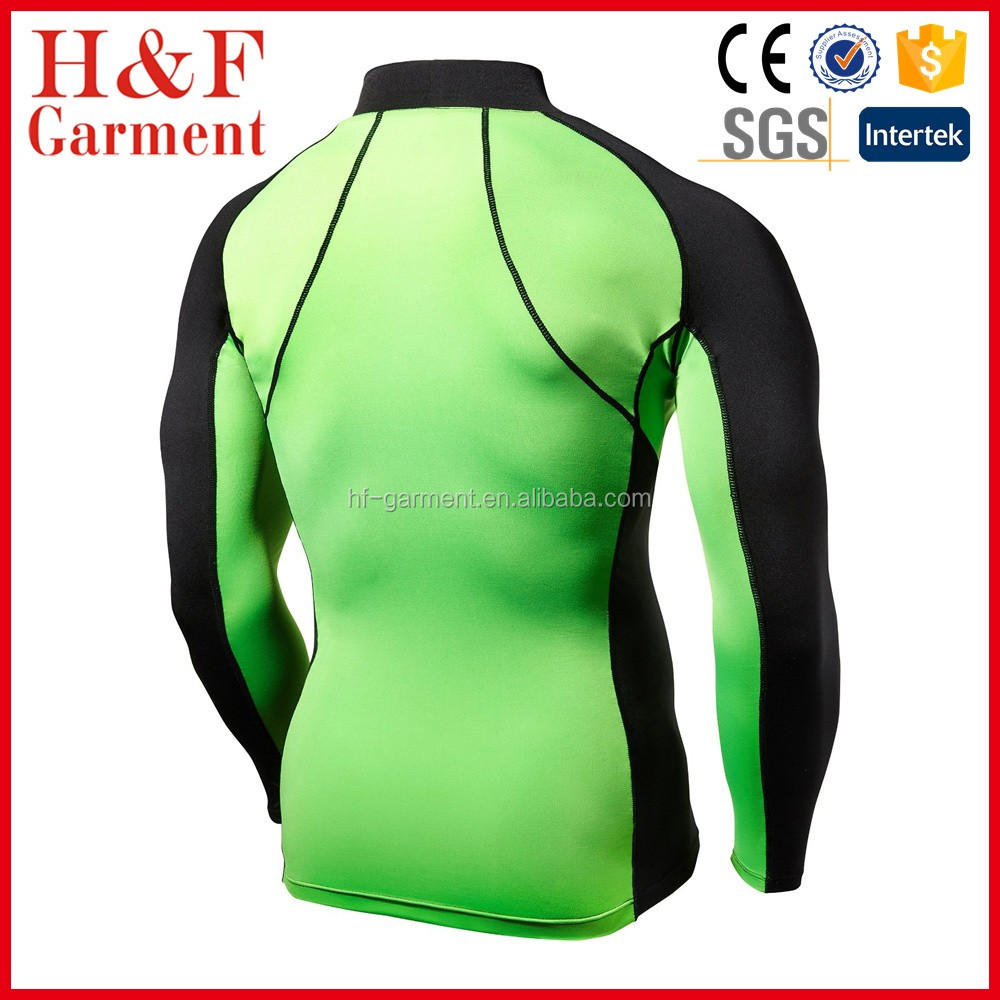 Bright Lime Two-color Long Sleeve T-shirt For Men For Rashguard ...