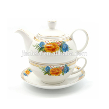 Hot sale high quality 450ml ceramic one person coffee set tea pot cup set for one