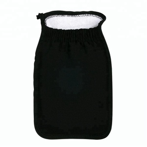 Black exfoliating viscose hammam scrub bath mitt