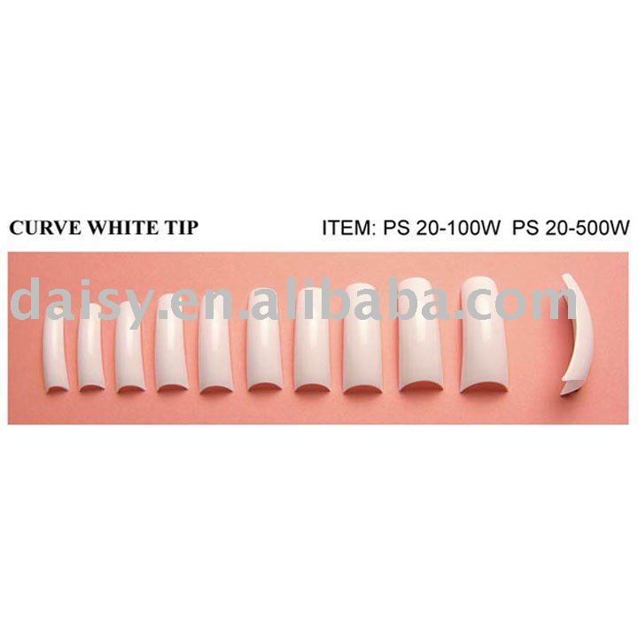 White Color Full cover Curve Nail Tips
