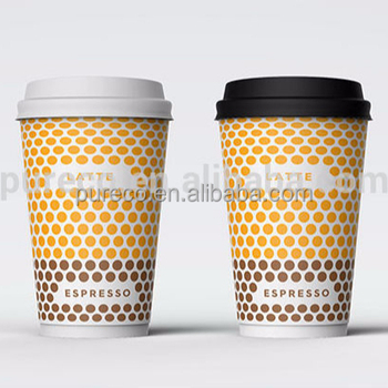 Custom Printed Hot Drink Disposable Paper Coffee Cups With Lids 4oz 8oz 12oz 16oz Cup