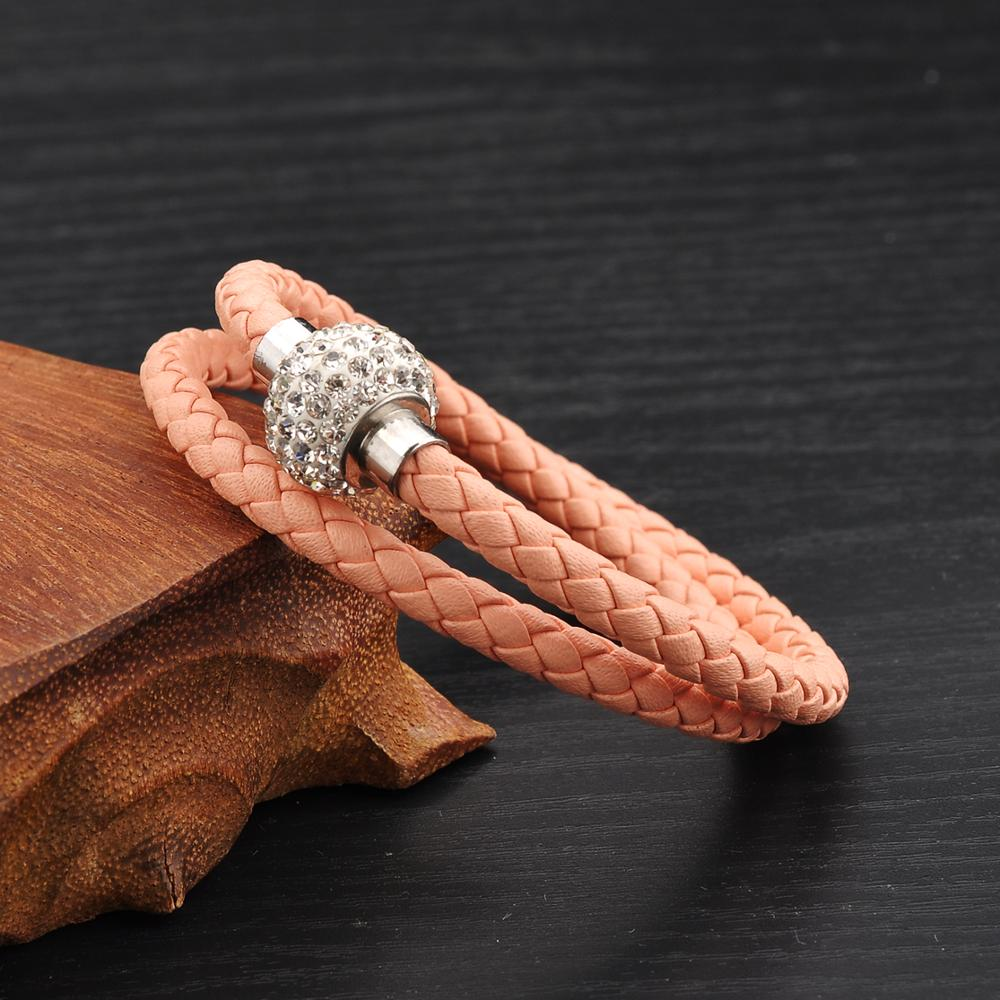 New 2019 Simple Zircon Stainless Steel Braided Double Wrapped Leather Bracelets