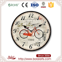 BSCI factory direct price red bicycle design analog clock themes for living room