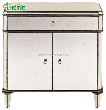 New Arrival Antique Silver Leaf Mirrored Gl Doors Cabinet Sideboard Cabient Door Product On
