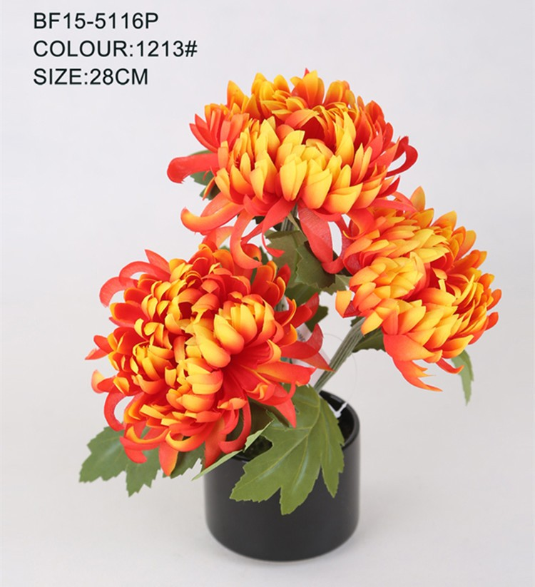 Artificial colorful chrysanthemum flower with black ceramic pot