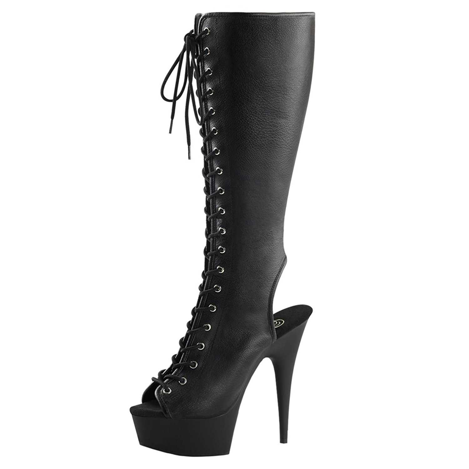 107c4f65439 Get Quotations · Summitfashions Womens Lace up High Heel Boots Black Peep  Toe Shoes Knee High 6 inch Heels