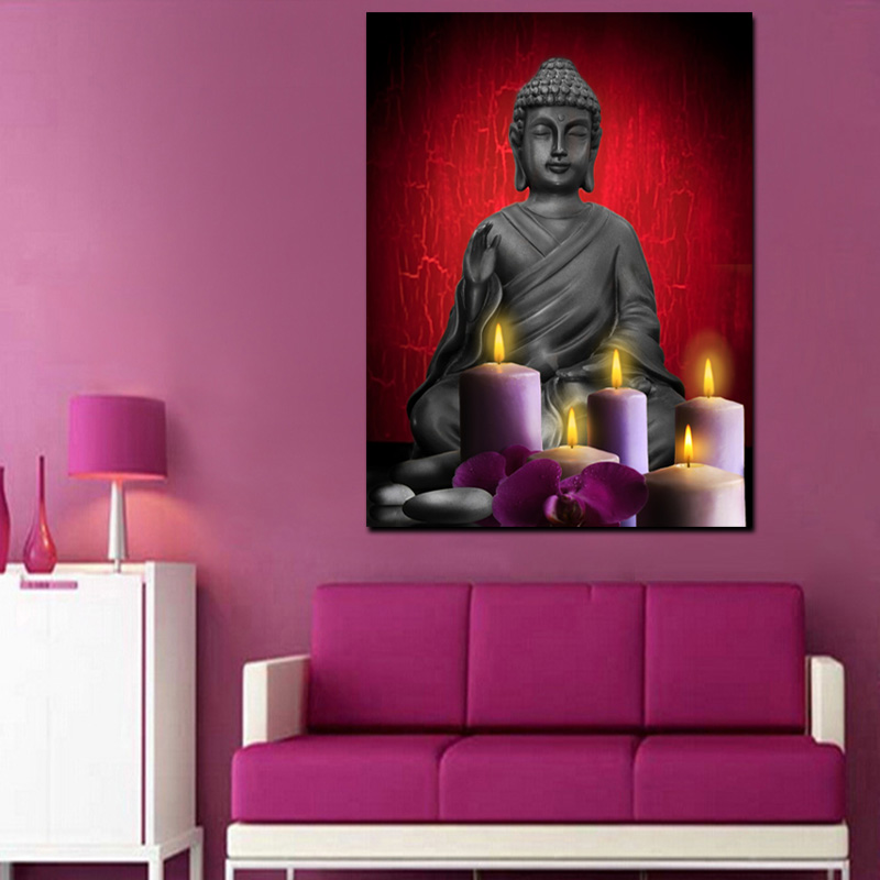Led Light Buddha Canvas Painting Religion Candle Design Custom Print ...