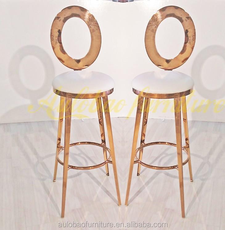 wholesale price luxury 4 leg gold bar stools with back