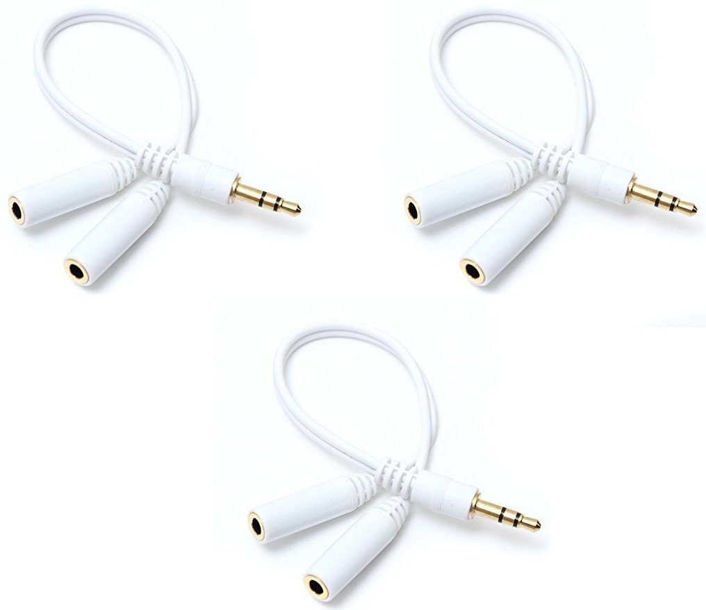 3.5mm Stereo Jack Splitter Cable Adapter for ipod, Mp3 Player, Mobile Phone, Laptop, PC, Headphone Speakers - 3 Pack