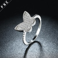 Wholesale new style butterfly shaped white gold plated ladies' 925 silver wedding ring with cz diamond