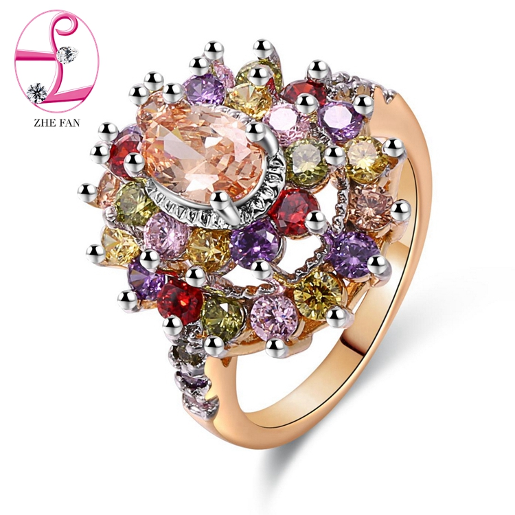 24k saudi gold jewelry multicolor CZ ring wholesale pirce