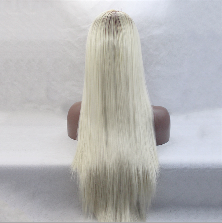 "Wholesale Cheap 26"" Straight Heat Resistant Fiber Hair Middle Part Glueless 613 Blonde Synthetic Lace Front Wig for White Women"