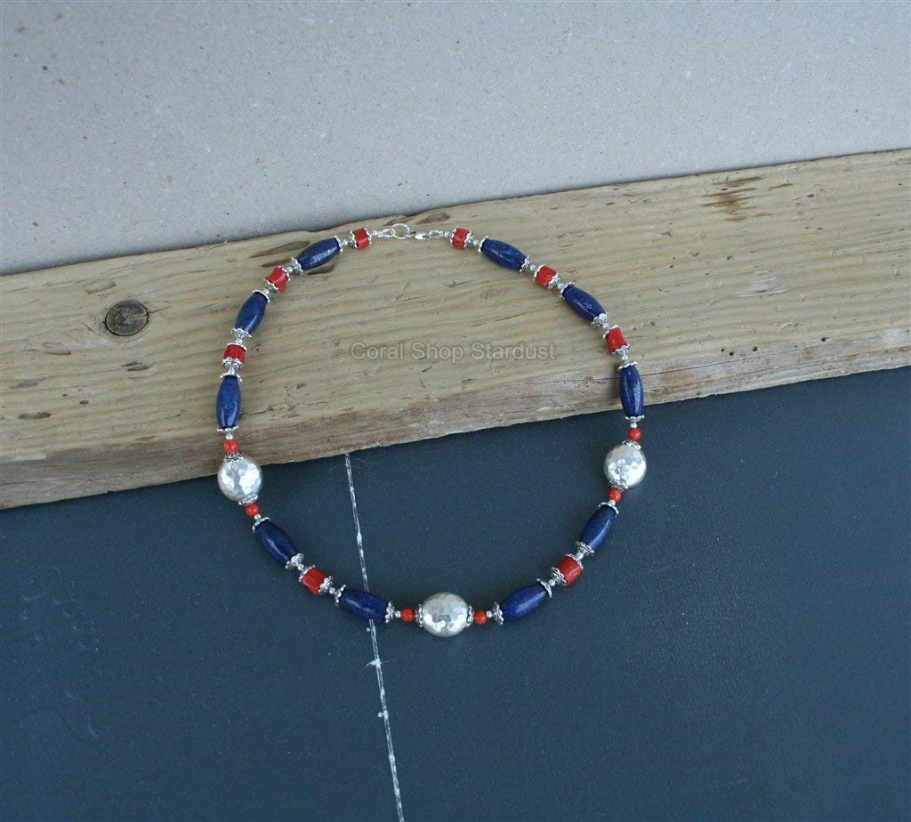Blue Lapis necklace Mediterranean Coral Necklace, Sterling Silver Beaded Gemstone Statement Necklace *Exp Shipping
