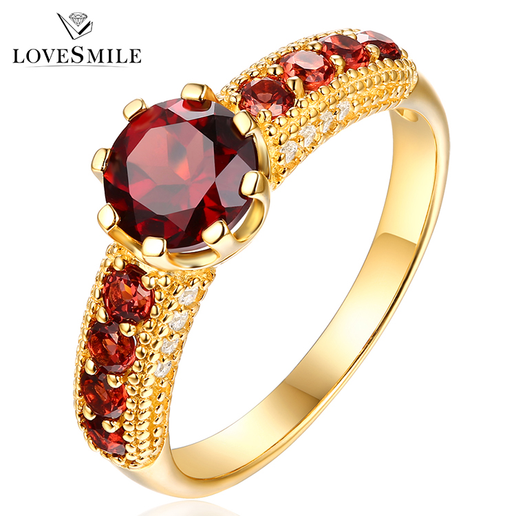 Most popular ladies ring designs yellow gold plate wholesale silver natural ruby ring