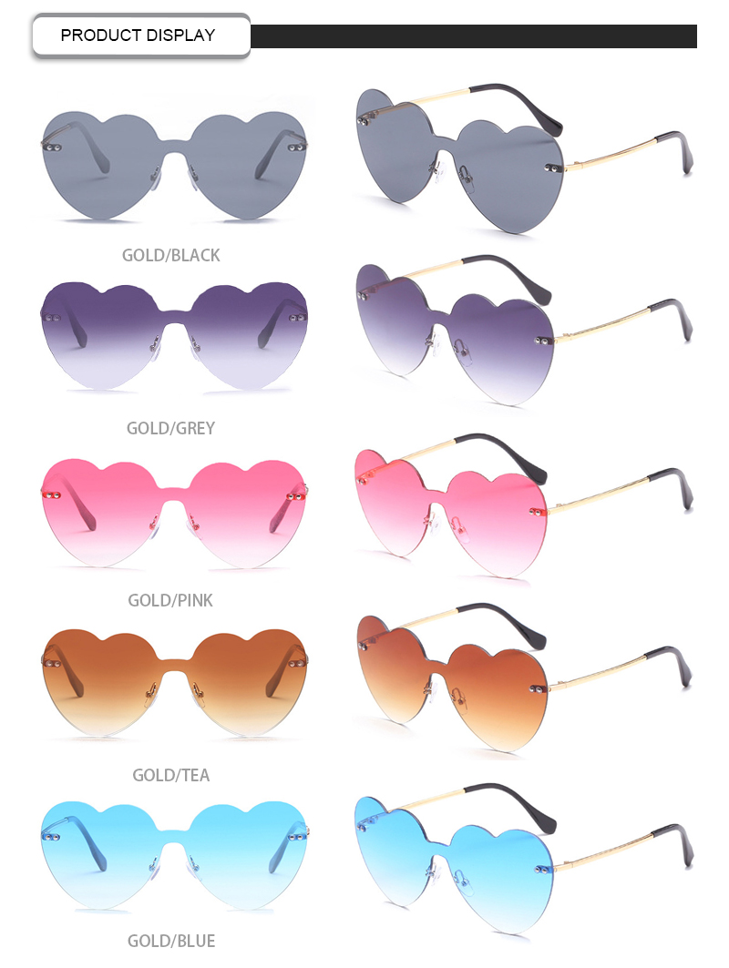 2019 New Arrivals Heart Shaped One Piece Lens Rimless Women Sunglasses