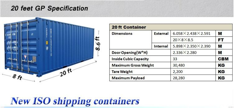 20 39 length feet 20 ft dry container type new shipping container buy 20ft used shipping. Black Bedroom Furniture Sets. Home Design Ideas