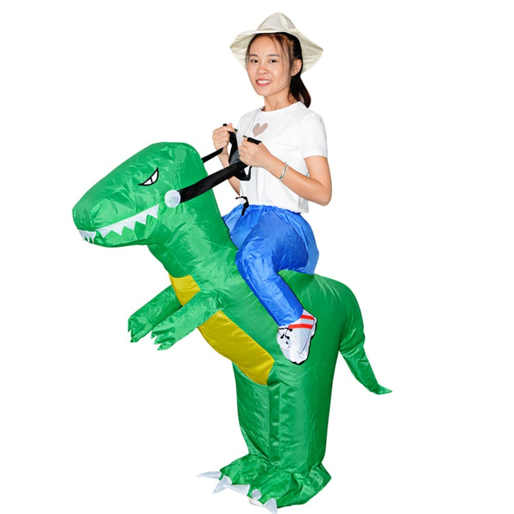 YUIOP Inflatable Blow Up Dinosaur Costume Halloween Wacky Terrorist Toy Adult Children Fancy Dress Costume Rider Costume Riding Strange Clothes