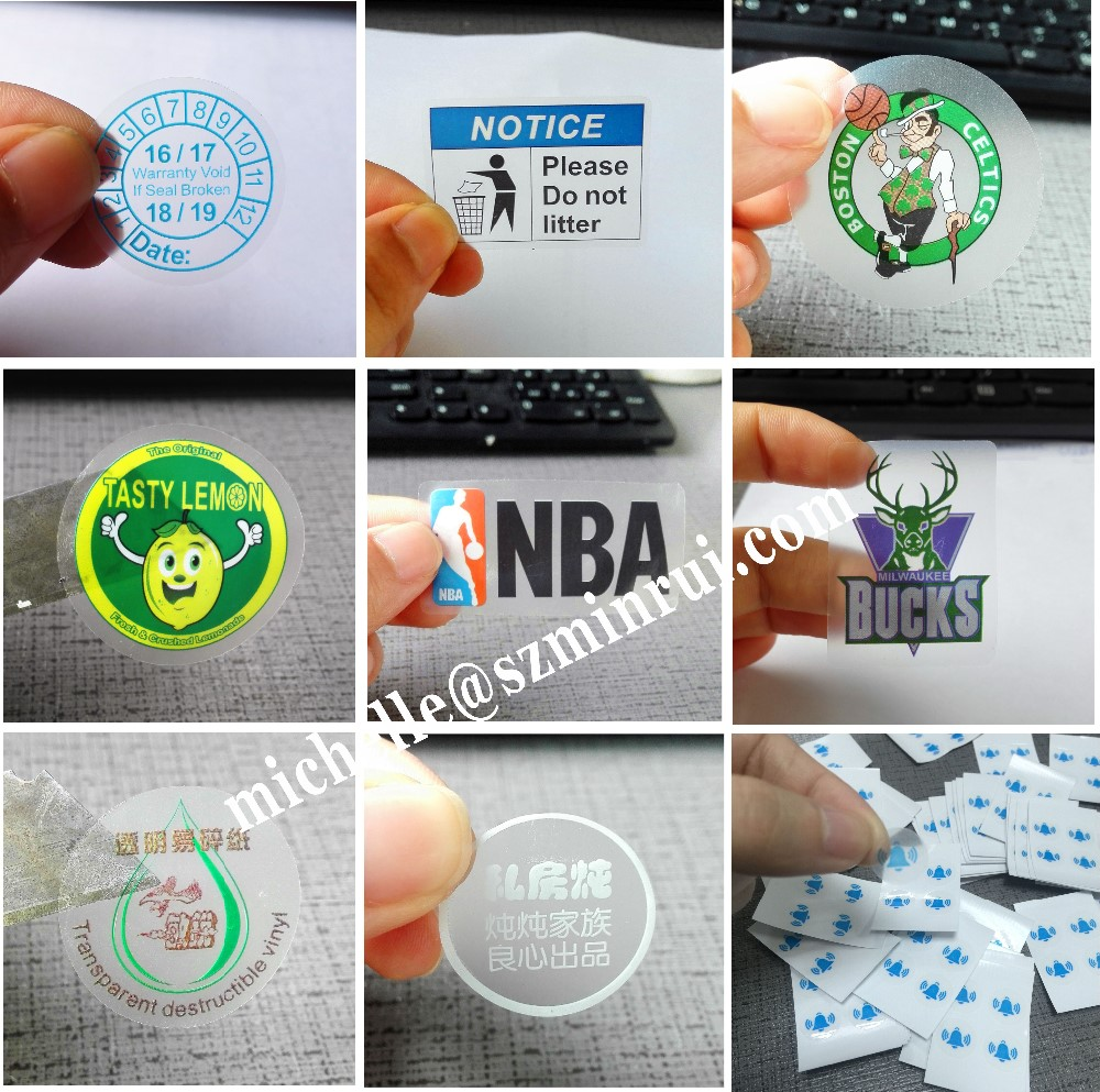 Free sample custom waterproof self adhesive private non removable clear label clear labels stickers for