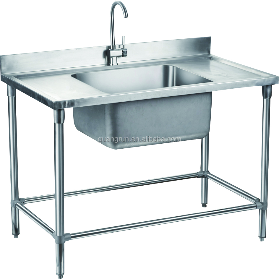 Catering Equipment Of Restaurant Used Free-standing Heavy-duty Commercial  Stainless Steel Kitchen Sink With Drainboard Gr-306 - Buy Double Bowl Food  ...