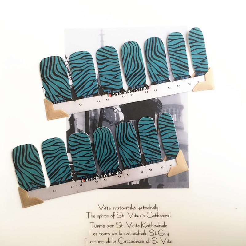 Blue Simple Line Nail Arts Sticker 14 pcs set Waterproof Nail Decal Art Sticker Gel Polish